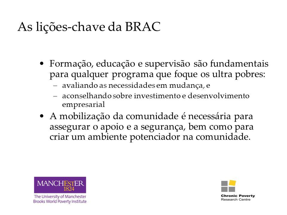 As lições-chave da BRAC Formação, educação e supervisão são fundamentais para qualquer programa que foque os ultra pobres: –avaliando as necessidades