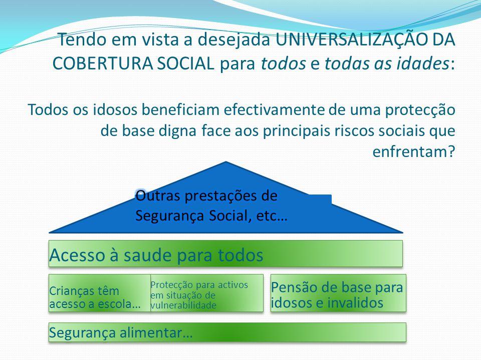 Tendo em vista a desejada UNIVERSALIZAÇÃO DA COBERTURA SOCIAL para todos e todas as idades: Todos os idosos beneficiam efectivamente de uma protecção de base digna face aos principais riscos sociais que enfrentam.