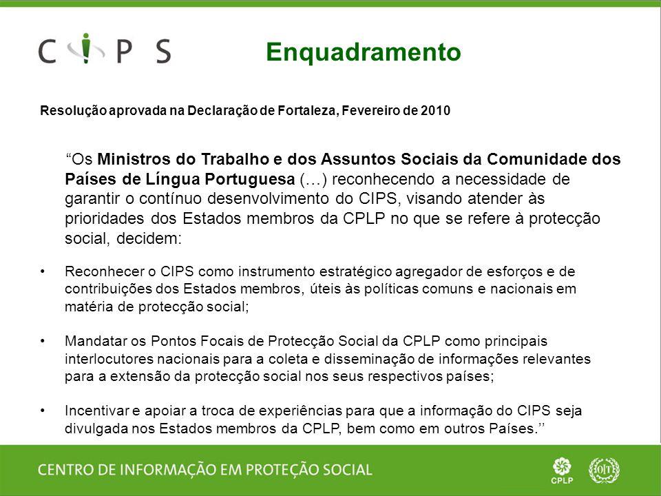 Objectivos do CIPS  Dar a conhecer as iniciativas (programas, eventos, parcerias) dos Países da CPLP na área da protecção social;  Fornecer recursos (informação e conhecimento) aos actores nos Países da CPLP que trabalham na protecção social;  Promover o trabalho em rede e a troca de informação entre esses actores (CIARIS).