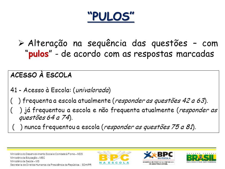 """20 """"PULOS"""" pulos  Alteração na sequência das questões – com """"pulos"""" - de acordo com as respostas marcadas Ministério do Desenvolvimento Social e Comb"""
