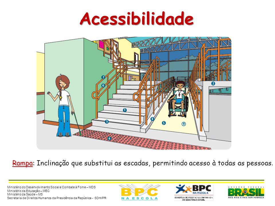 Acessibilidade Rampa: Rampa: Inclinação que substitui as escadas, permitindo acesso à todas as pessoas. Ministério do Desenvolvimento Social e Combate