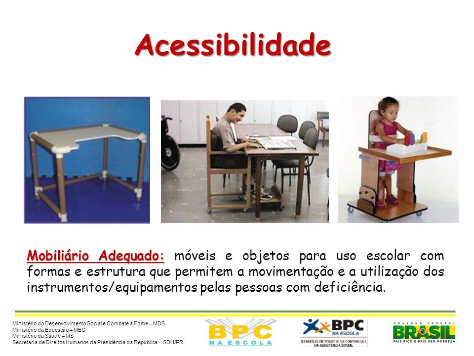 Acessibilidade Mobiliário Adequado: Mobiliário Adequado: móveis e objetos para uso escolar com formas e estrutura que permitem a movimentação e a util