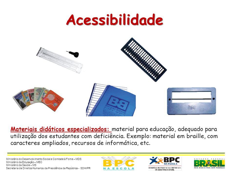 Acessibilidade Materiais didáticos especializados: Materiais didáticos especializados: material para educação, adequado para utilização dos estudantes
