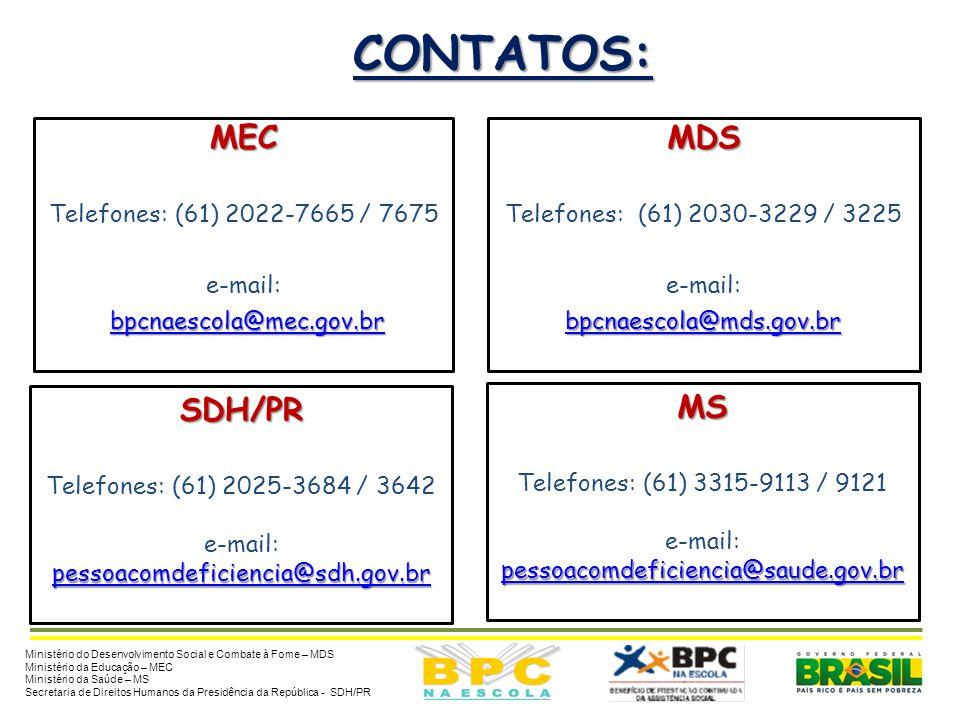 CONTATOS: Ministério do Desenvolvimento Social e Combate à Fome – MDS Ministério da Educação – MEC Ministério da Saúde – MS Secretaria de Direitos Hum
