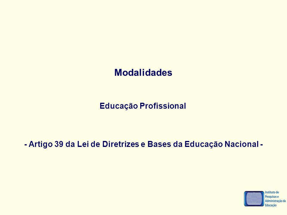 Modalidades Educação Profissional - Artigo 39 da Lei de Diretrizes e Bases da Educação Nacional -