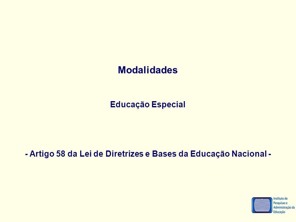 Modalidades Educação Especial - Artigo 58 da Lei de Diretrizes e Bases da Educação Nacional -