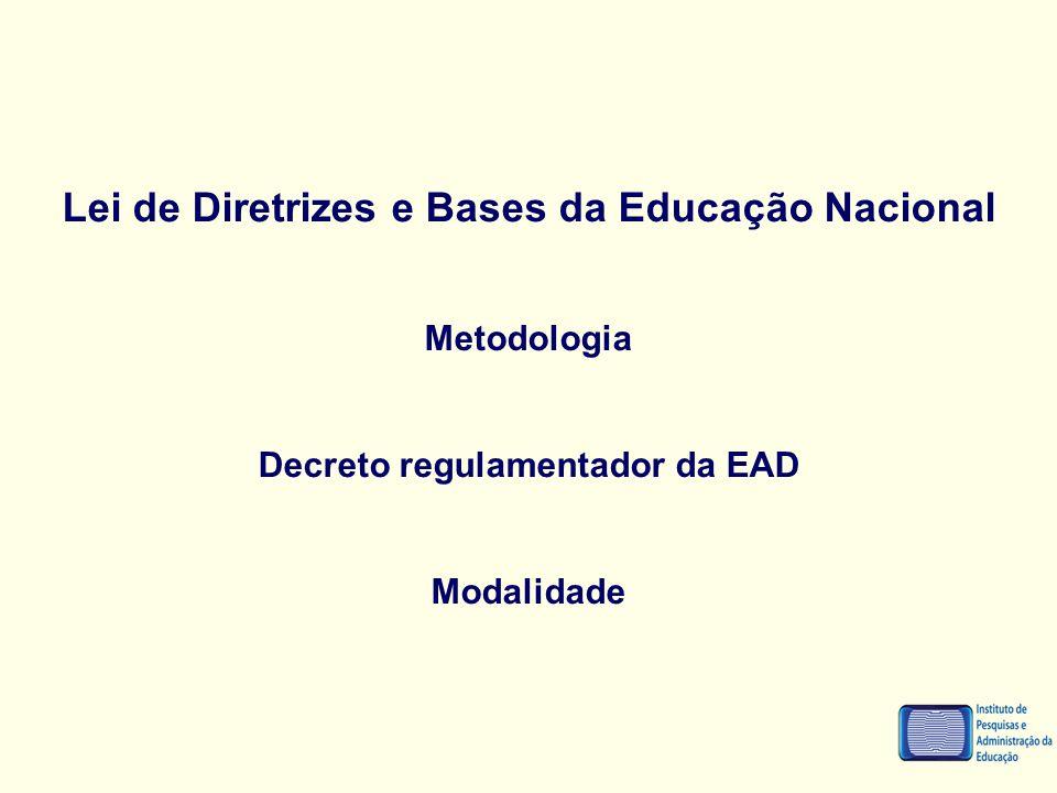 Lei de Diretrizes e Bases da Educação Nacional Metodologia Decreto regulamentador da EAD Modalidade