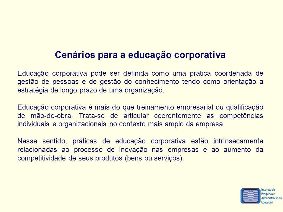Cenários para a educação corporativa Educação corporativa pode ser definida como uma prática coordenada de gestão de pessoas e de gestão do conhecimen