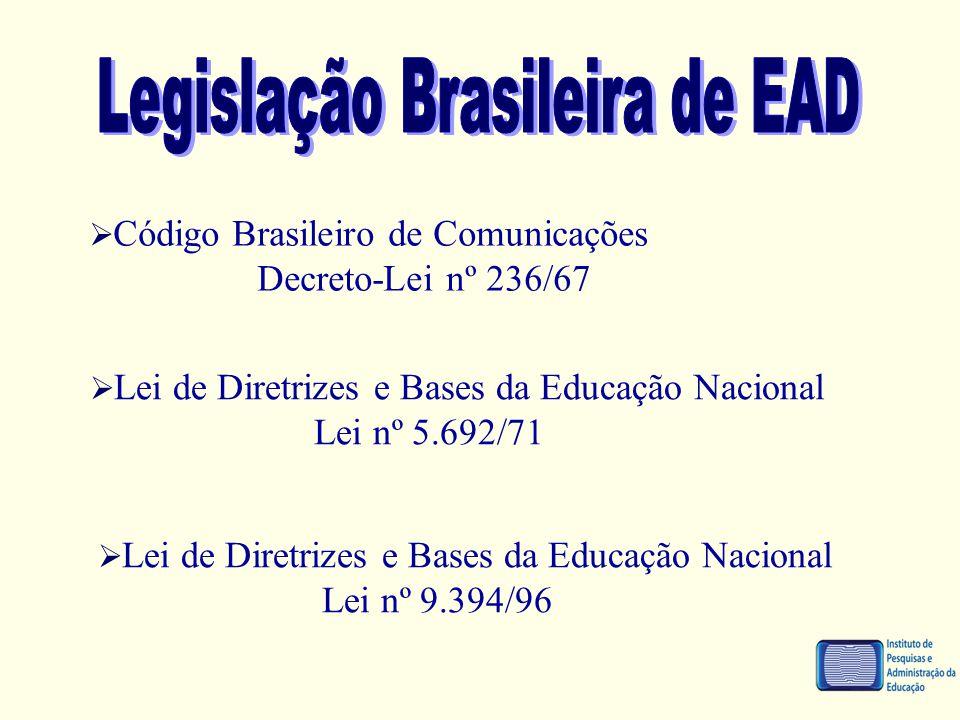  Código Brasileiro de Comunicações Decreto-Lei nº 236/67  Lei de Diretrizes e Bases da Educação Nacional Lei nº 5.692/71  Lei de Diretrizes e Bases