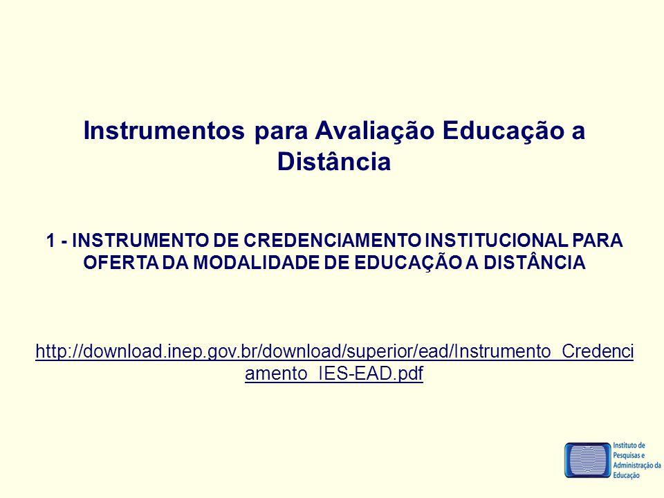 Instrumentos para Avaliação Educação a Distância 1 - INSTRUMENTO DE CREDENCIAMENTO INSTITUCIONAL PARA OFERTA DA MODALIDADE DE EDUCAÇÃO A DISTÂNCIA htt