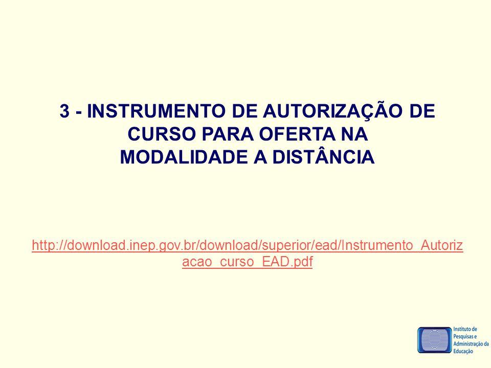 3 - INSTRUMENTO DE AUTORIZAÇÃO DE CURSO PARA OFERTA NA MODALIDADE A DISTÂNCIA http://download.inep.gov.br/download/superior/ead/Instrumento_Autoriz ac
