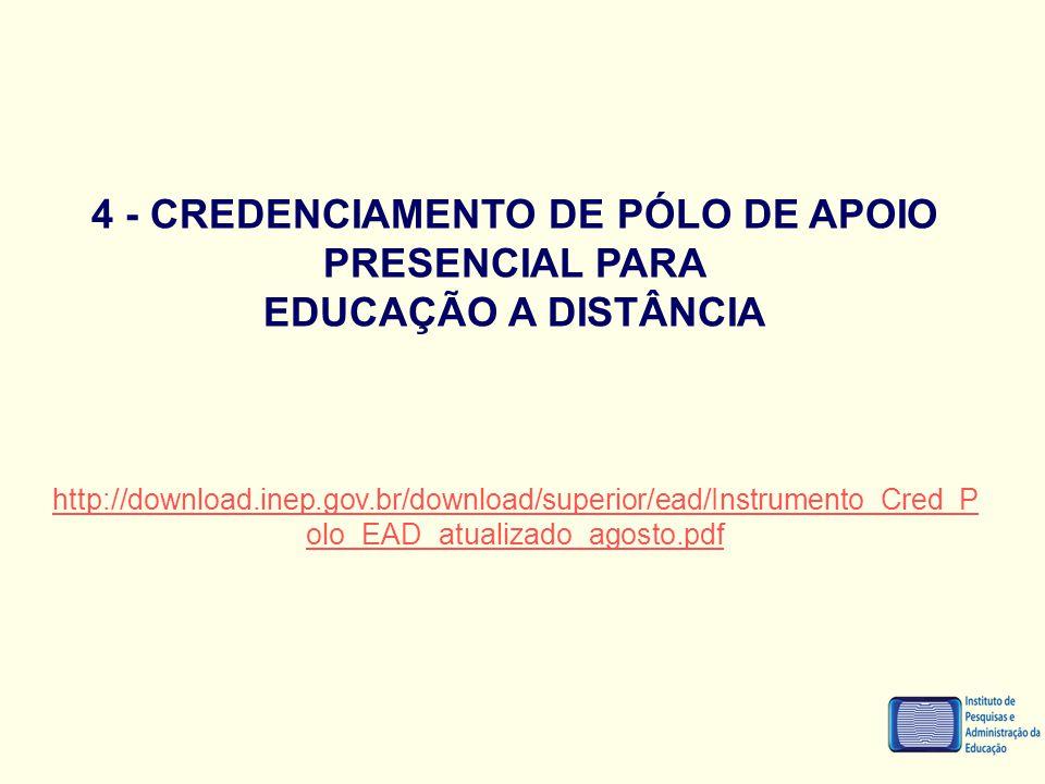 4 - CREDENCIAMENTO DE PÓLO DE APOIO PRESENCIAL PARA EDUCAÇÃO A DISTÂNCIA http://download.inep.gov.br/download/superior/ead/Instrumento_Cred_P olo_EAD_