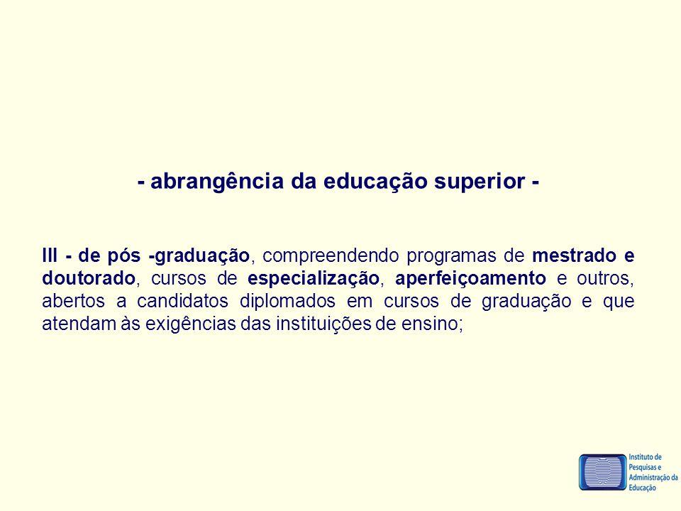 - abrangência da educação superior - III - de pós -graduação, compreendendo programas de mestrado e doutorado, cursos de especialização, aperfeiçoamen