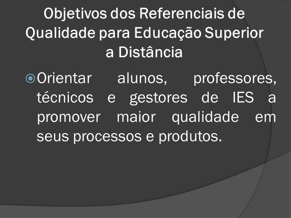 Objetivos dos Referenciais de Qualidade para Educação Superior a Distância  Orientar alunos, professores, técnicos e gestores de IES a promover maior