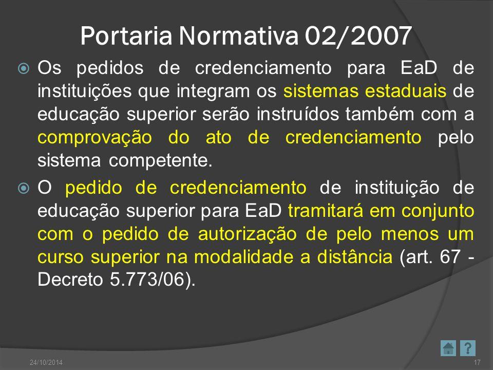 Portaria Normativa 02/2007  Os pedidos de credenciamento para EaD de instituições que integram os sistemas estaduais de educação superior serão instr