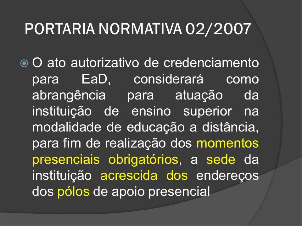 PORTARIA NORMATIVA 02/2007  O ato autorizativo de credenciamento para EaD, considerará como abrangência para atuação da instituição de ensino superio