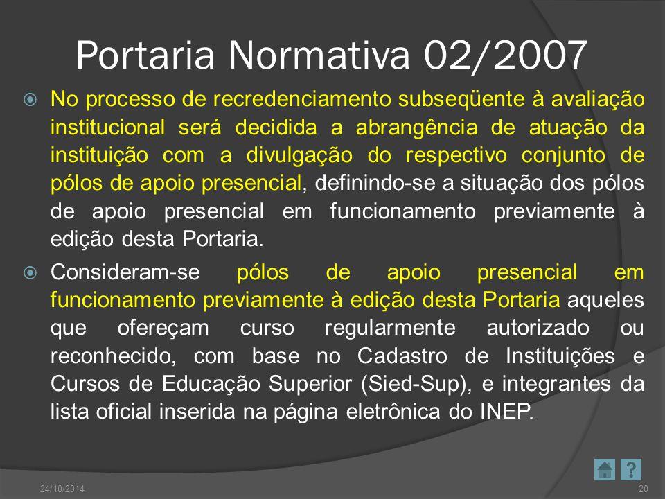 Portaria Normativa 02/2007  No processo de recredenciamento subseqüente à avaliação institucional será decidida a abrangência de atuação da instituiç