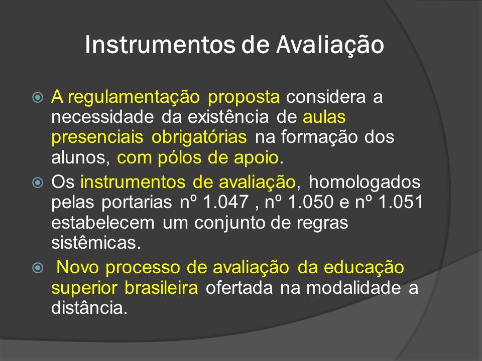 Instrumentos de Avaliação  A regulamentação proposta considera a necessidade da existência de aulas presenciais obrigatórias na formação dos alunos,