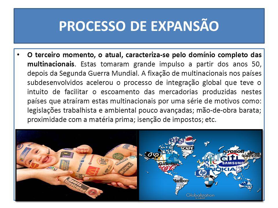 PROCESSO DE EXPANSÃO O terceiro momento, o atual, caracteriza-se pelo domínio completo das multinacionais.