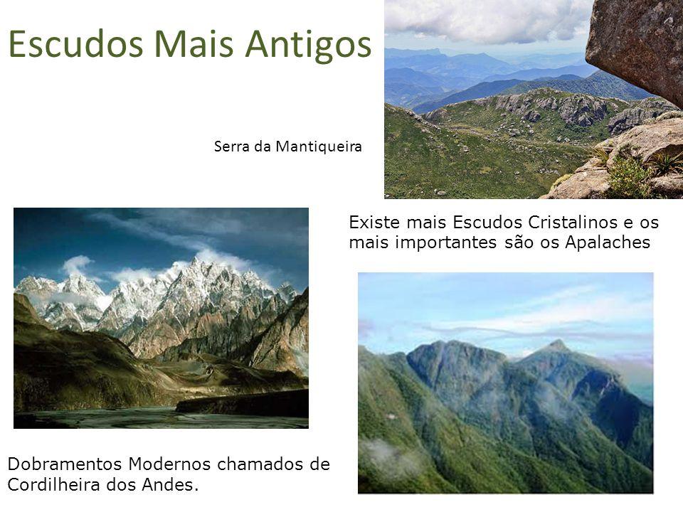 Escudos Mais Antigos Existe mais Escudos Cristalinos e os mais importantes são os Apalaches Dobramentos Modernos chamados de Cordilheira dos Andes.