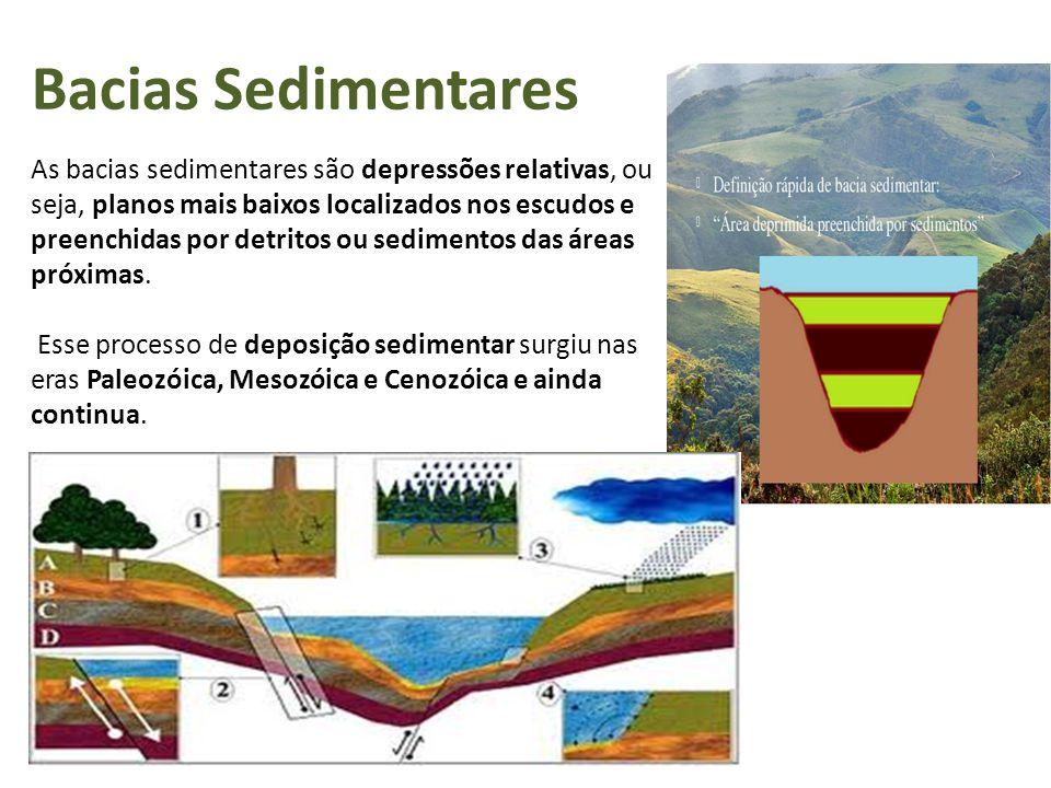 Bacias Sedimentares As bacias sedimentares são depressões relativas, ou seja, planos mais baixos localizados nos escudos e preenchidas por detritos ou sedimentos das áreas próximas.
