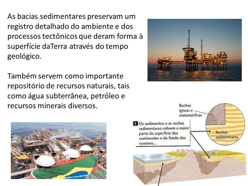 As bacias sedimentares preservam um registro detalhado do ambiente e dos processos tectônicos que deram forma à superfície daTerra através do tempo geológico.