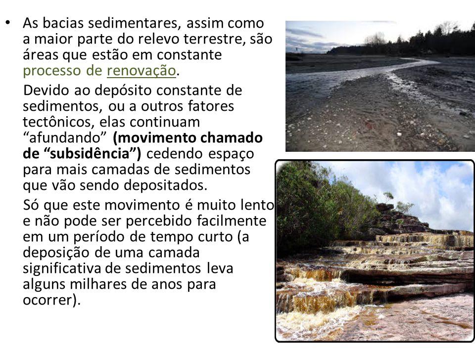 As bacias sedimentares, assim como a maior parte do relevo terrestre, são áreas que estão em constante processo de renovação.