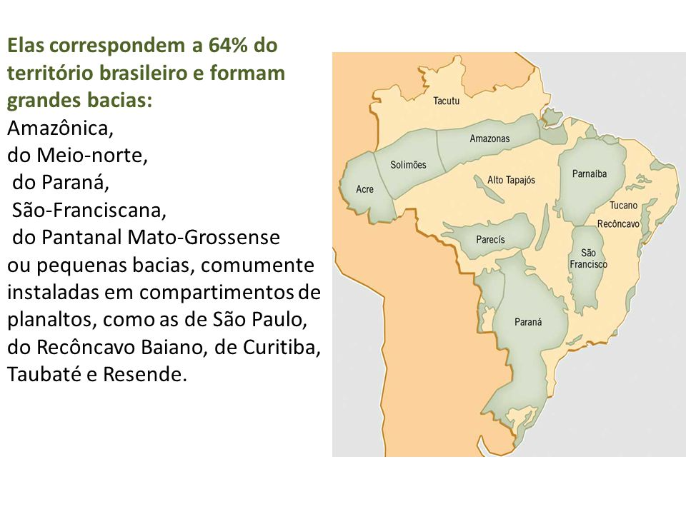 Elas correspondem a 64% do território brasileiro e formam grandes bacias: Amazônica, do Meio-norte, do Paraná, São-Franciscana, do Pantanal Mato-Grossense ou pequenas bacias, comumente instaladas em compartimentos de planaltos, como as de São Paulo, do Recôncavo Baiano, de Curitiba, Taubaté e Resende.