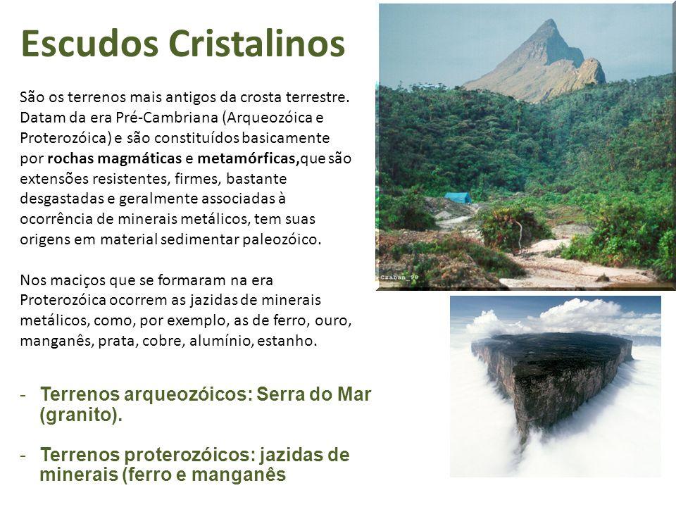 Escudos Cristalinos São os terrenos mais antigos da crosta terrestre.