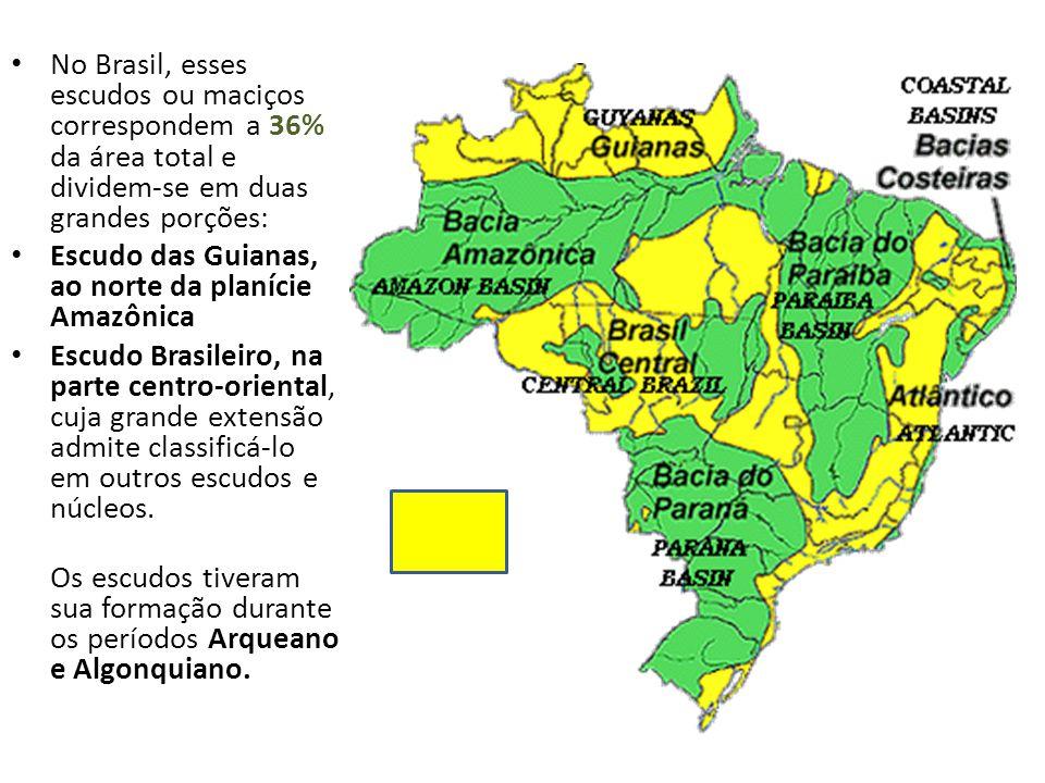 No Brasil, esses escudos ou maciços correspondem a 36% da área total e dividem-se em duas grandes porções: Escudo das Guianas, ao norte da planície Amazônica Escudo Brasileiro, na parte centro-oriental, cuja grande extensão admite classificá-lo em outros escudos e núcleos.