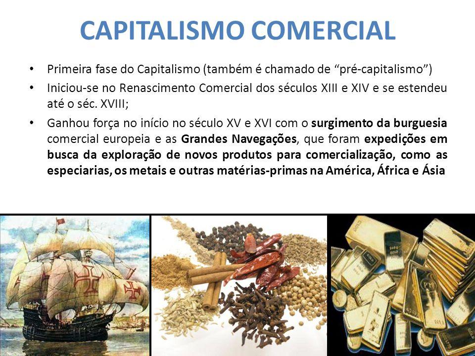 """CAPITALISMO COMERCIAL Primeira fase do Capitalismo (também é chamado de """"pré-capitalismo"""") Iniciou-se no Renascimento Comercial dos séculos XIII e XIV"""