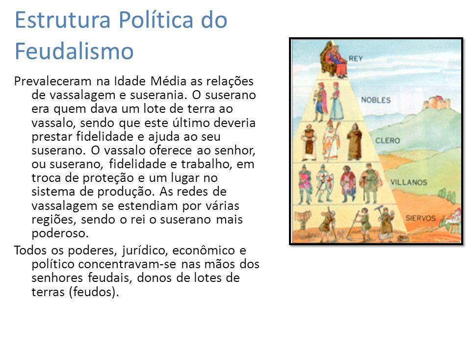 Estrutura Política do Feudalismo Prevaleceram na Idade Média as relações de vassalagem e suserania. O suserano era quem dava um lote de terra ao vassa