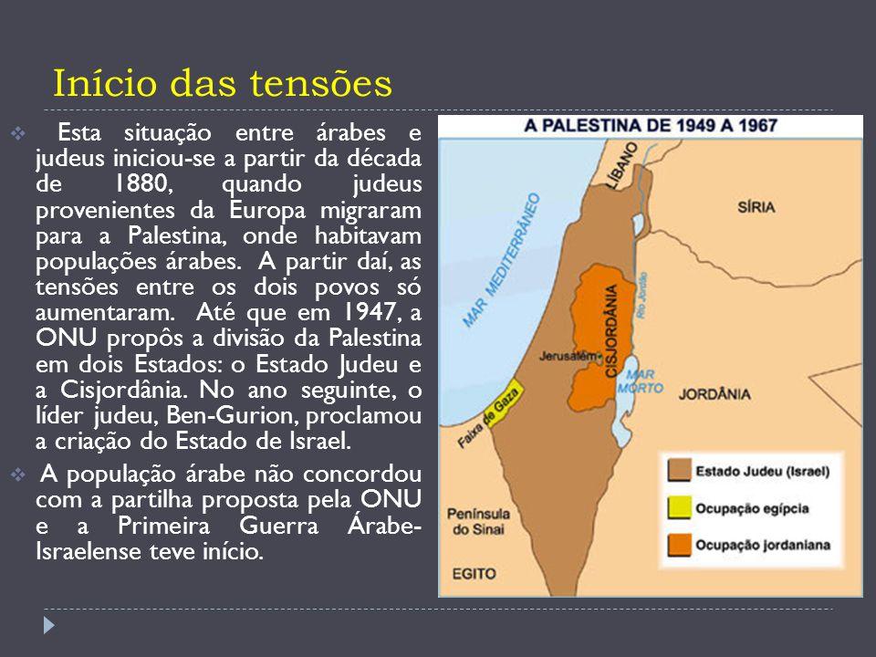  Os israelenses venceram esta guerra e anexaram territórios árabes e os conflitos tornaram-se cada vez mais comuns e intensos.