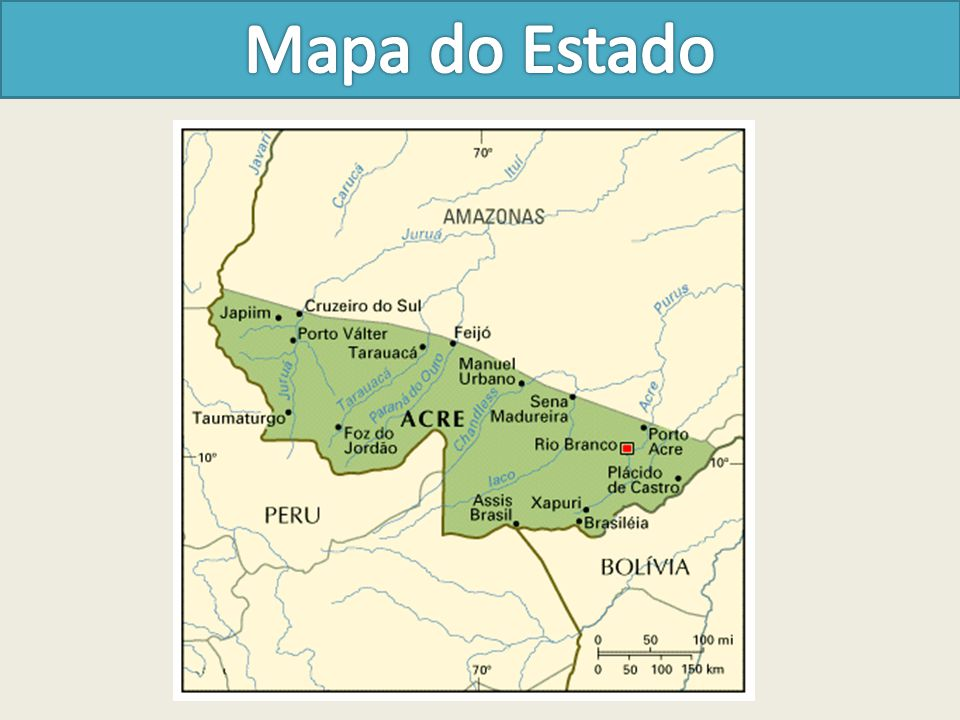 O Acre é uma das 27 unidades federativas do Brasil, situado no sudoeste da região Norte e tendo como limites os estados do Amazonas a norte, Rondônia a leste, Bolívia a sudeste e o Peru ao sul e oeste.