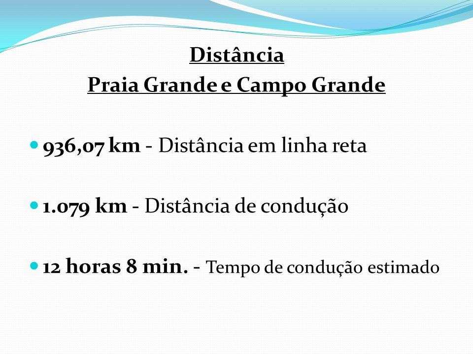 Distância Praia Grande e Campo Grande 936,07 km - Distância em linha reta 1.079 km - Distância de condução 12 horas 8 min. - Tempo de condução estimad