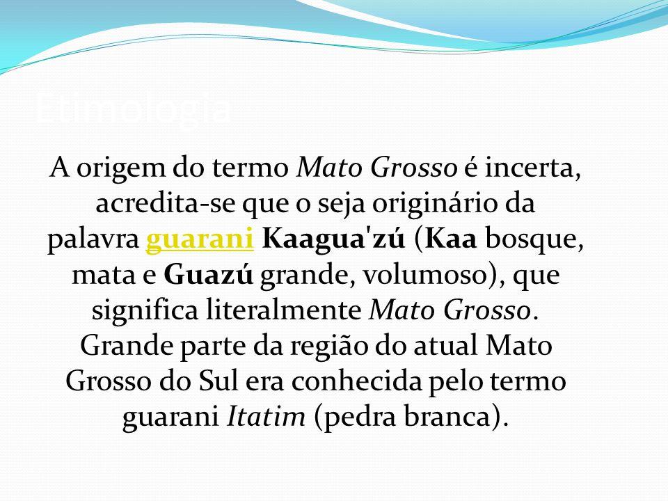 Etimologia A origem do termo Mato Grosso é incerta, acredita-se que o seja originário da palavra guarani Kaagua'zú (Kaa bosque, mata e Guazú grande, v