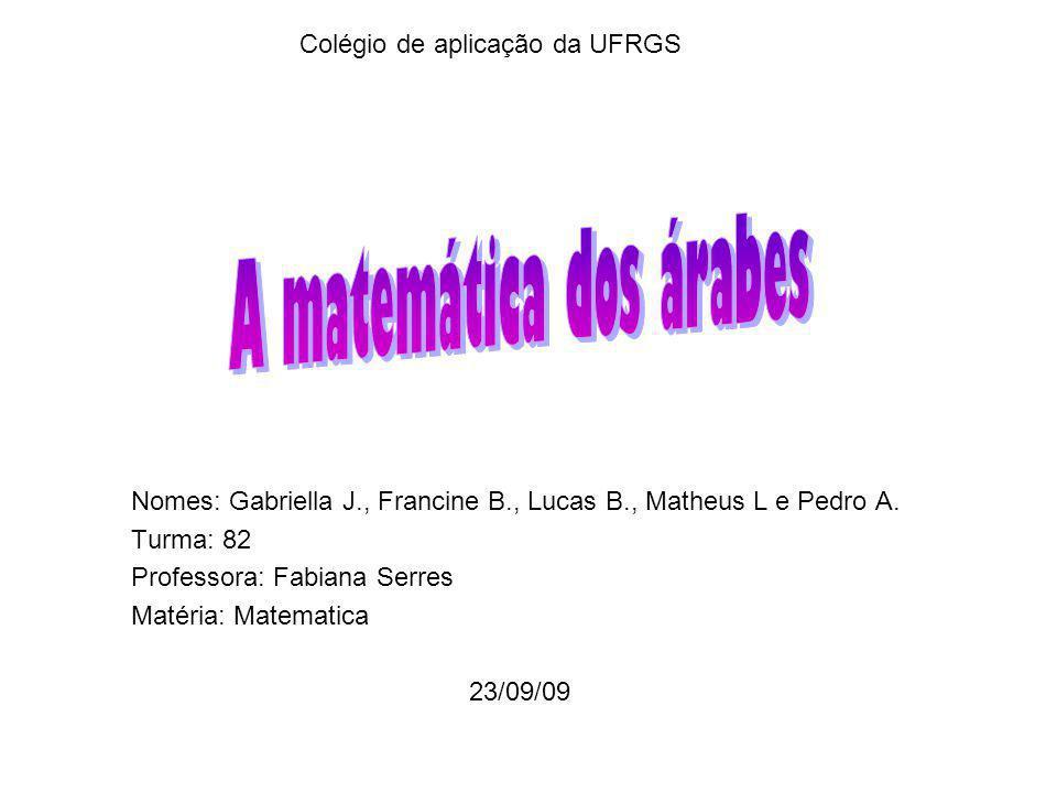 Colégio de aplicação da UFRGS Nomes: Gabriella J., Francine B., Lucas B., Matheus L e Pedro A.