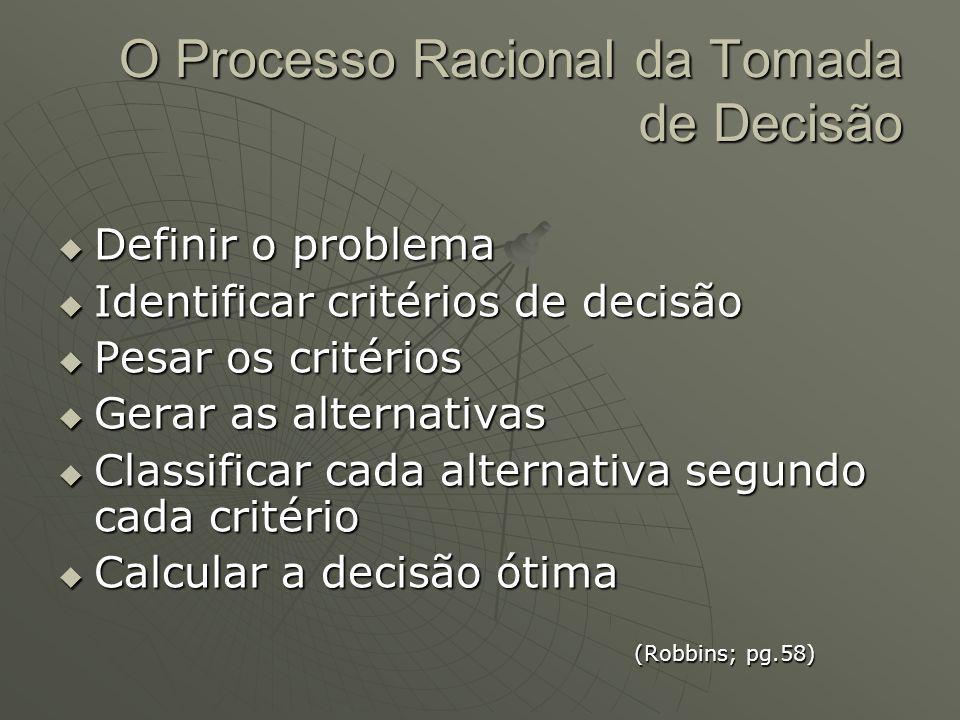 O Processo Racional da Tomada de Decisão  Definir o problema  Identificar critérios de decisão  Pesar os critérios  Gerar as alternativas  Classi