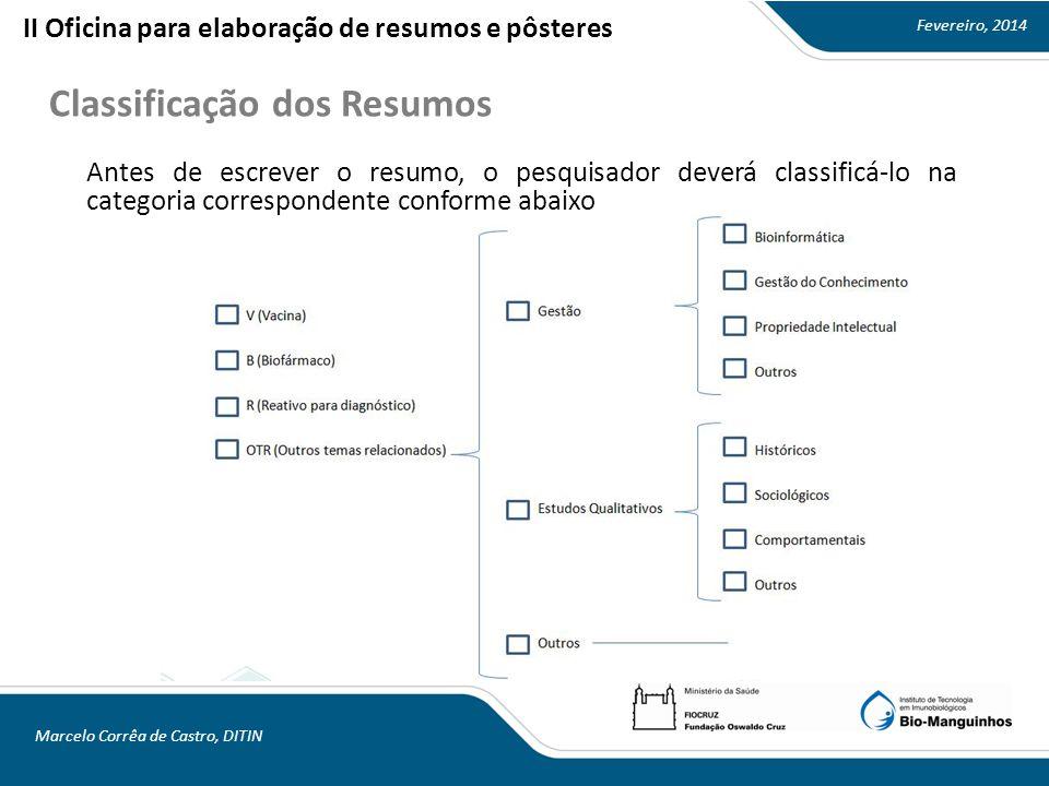 Fevereiro, 2014 Marcelo Corrêa de Castro, DITIN Classificação dos Resumos II Oficina para elaboração de resumos e pôsteres Antes de escrever o resumo, o pesquisador deverá classificá-lo na categoria correspondente conforme abaixo