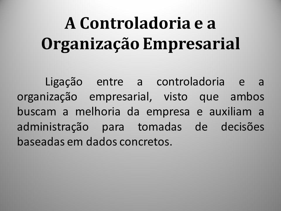 A Controladoria e a Organização Empresarial Ligação entre a controladoria e a organização empresarial, visto que ambos buscam a melhoria da empresa e auxiliam a administração para tomadas de decisões baseadas em dados concretos.
