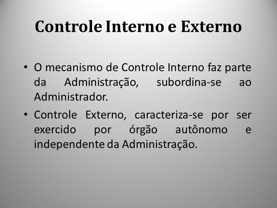 Controle Interno e Externo O mecanismo de Controle Interno faz parte da Administração, subordina-se ao Administrador. Controle Externo, caracteriza-se