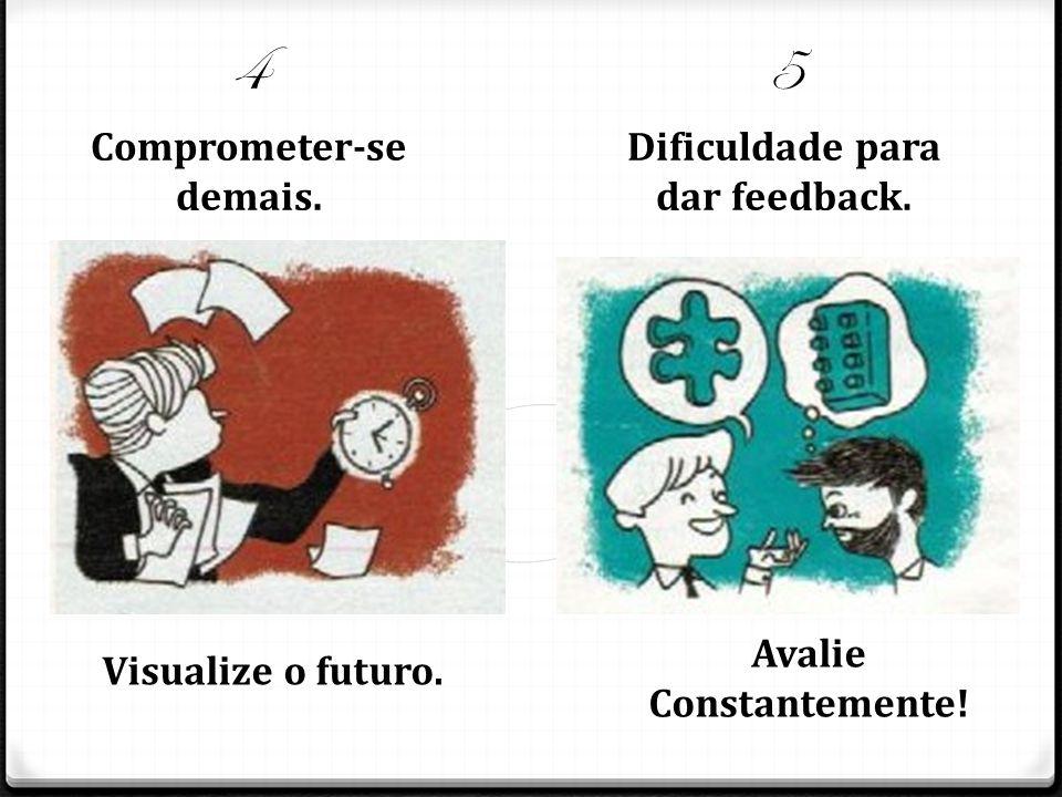 4 Comprometer-se demais. 5 Dificuldade para dar feedback. Visualize o futuro. Avalie Constantemente!