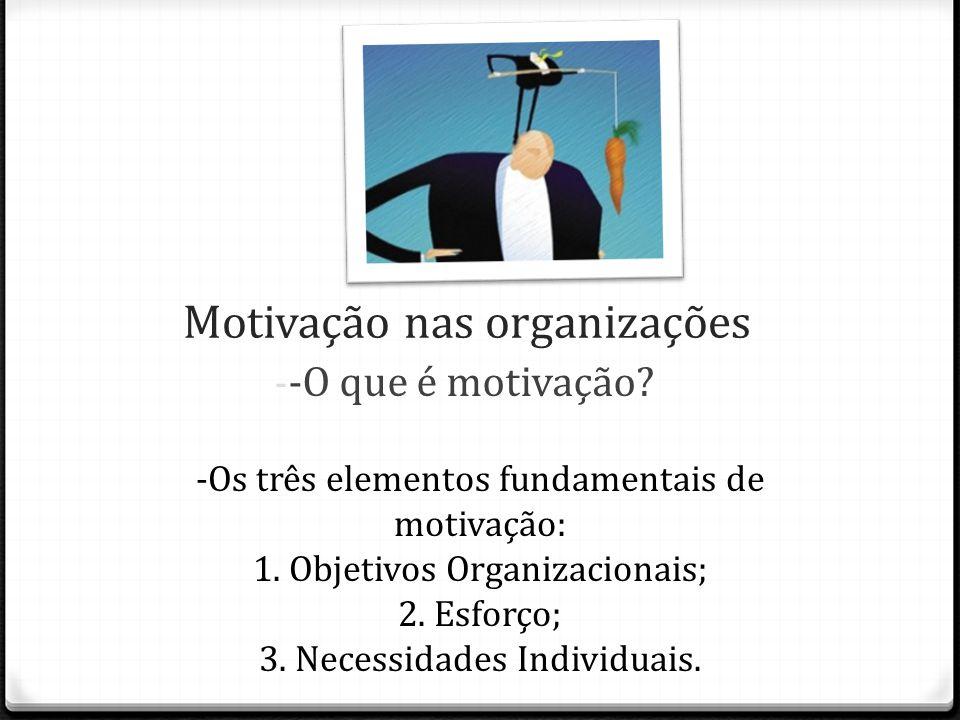Motivação nas organizações -Os três elementos fundamentais de motivação: 1.Objetivos Organizacionais; 2.Esforço; 3.Necessidades Individuais. - -O que