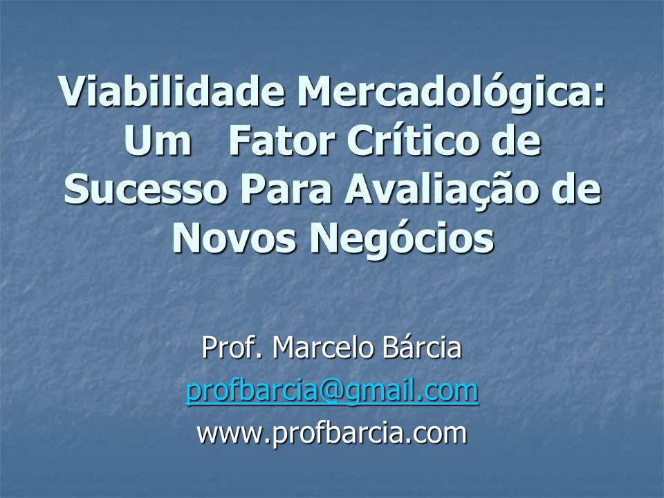 Viabilidade Mercadológica: Um Fator Crítico de Sucesso Para Avaliação de Novos Negócios Prof.