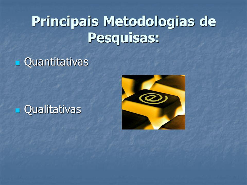 Principais Metodologias de Pesquisas: Quantitativas Quantitativas Qualitativas Qualitativas