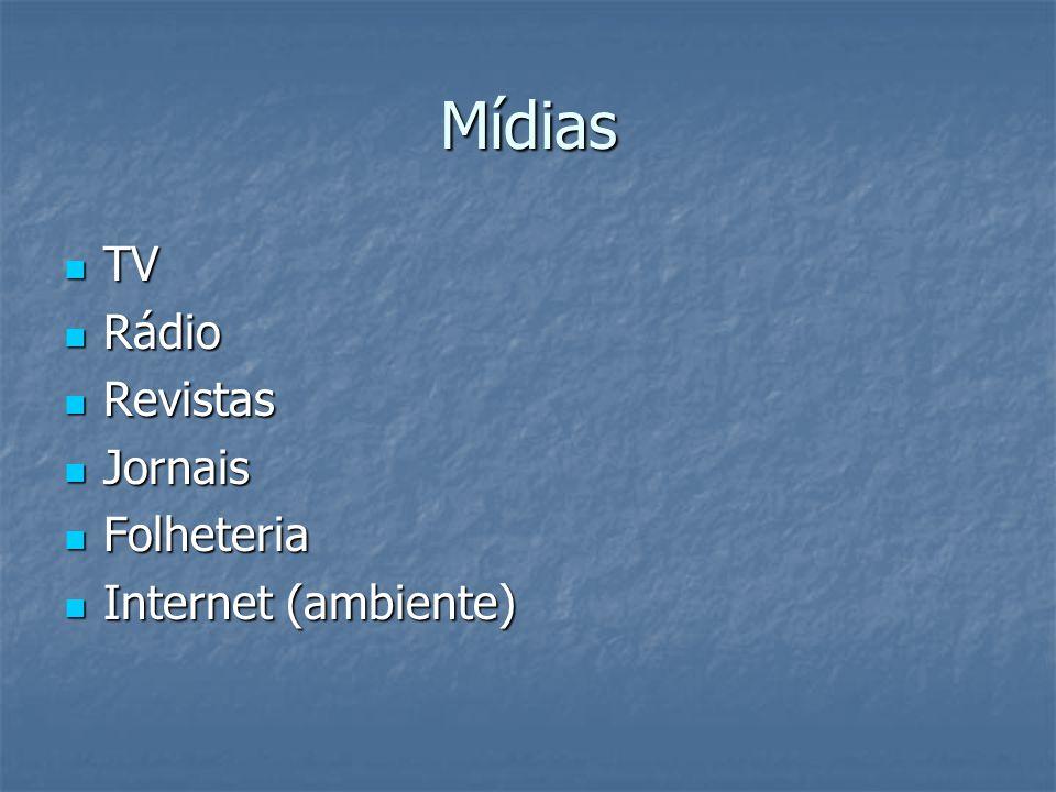 Mídias TV TV Rádio Rádio Revistas Revistas Jornais Jornais Folheteria Folheteria Internet (ambiente) Internet (ambiente)