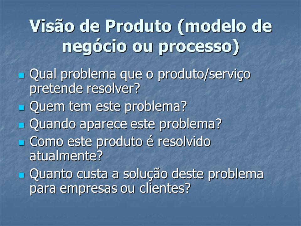Visão de Produto (modelo de negócio ou processo) Qual problema que o produto/serviço pretende resolver.