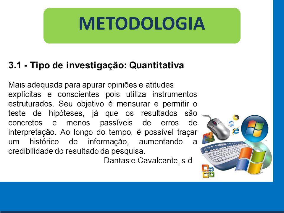 Cursos a Distância em todo o Brasil www.institutoprominas.com.br 0800 283 8380 METODOLOGIA 3.1 - Tipo de investigação: Quantitativa Mais adequada para