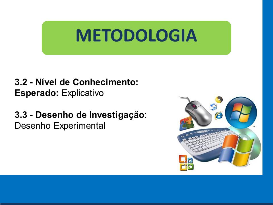Cursos a Distância em todo o Brasil www.institutoprominas.com.br 0800 283 8380 METODOLOGIA 3.2 - Nível de Conhecimento: Esperado: Explicativo 3.3 - De