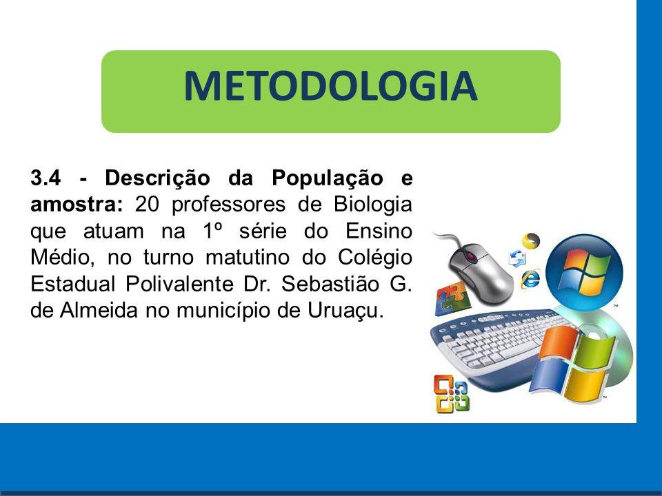 Cursos a Distância em todo o Brasil www.institutoprominas.com.br 0800 283 8380 METODOLOGIA 3.4 - Descrição da População e amostra: 20 professores de B